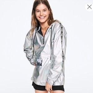 PINK Foil Anorak Hooded Jacket - NWT